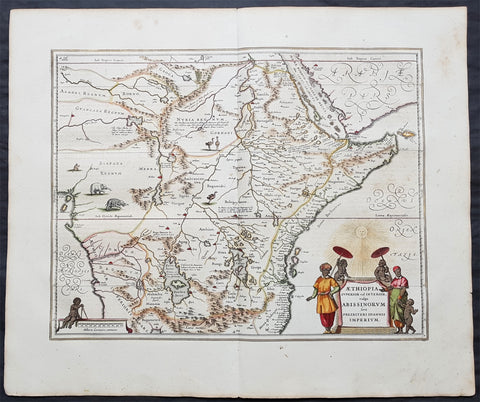 1639 Jansson Original Antique Map of Africa - The Myth of Emperor Prestor John