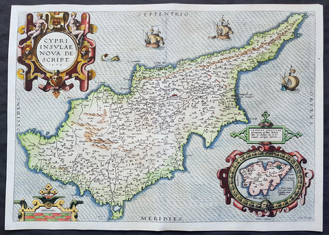 1573 Abraham Ortelius Original Antique 1st Edition Map of The Island of Cyprus