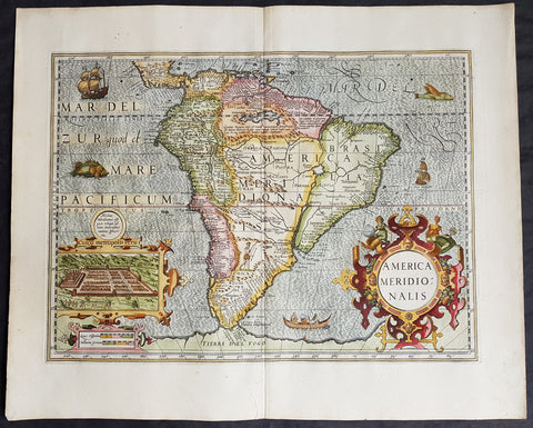 1628 Henricus Hondius Original Antique Map of South America