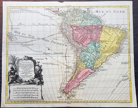 1772 Tobias Lotter Large Antique Map of South America, Drake, Magellan, Le Maire