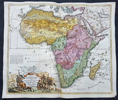 1715 Homann Original Antique Map of Africa - Origins of the Nile River, Heinrich Scherer