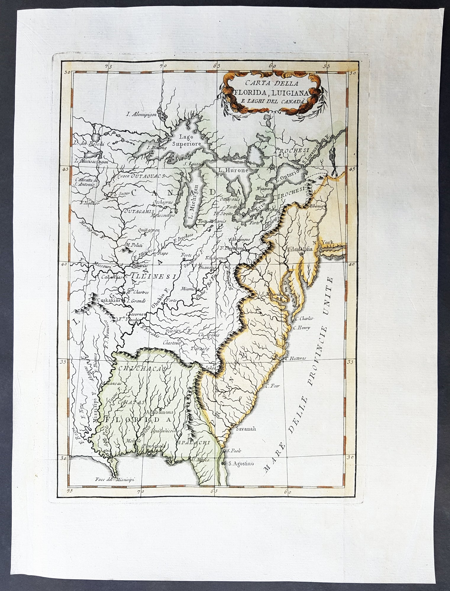 Le Harpe Original Antique Map Great Lakes North America - Map of colonial us