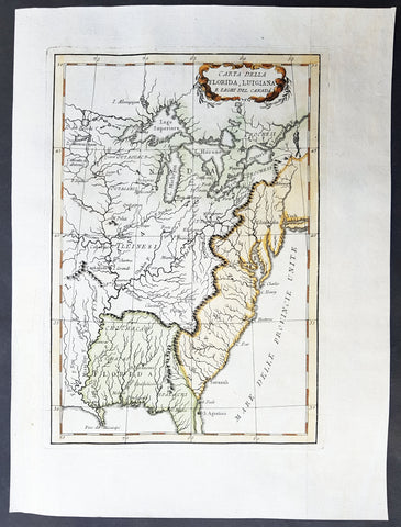 1781 Le Harpe Original Antique Map Great Lakes North America Colonial US Florida