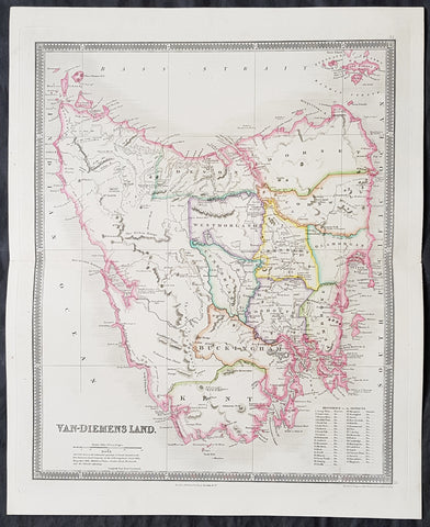 1835 Henry Teesdale Large Antique Map of Van Diemens Land, Tasmania, Australia