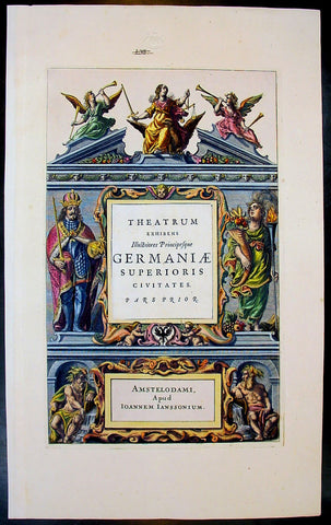 1640 Jansson Old, Antique German Atlas Title Page