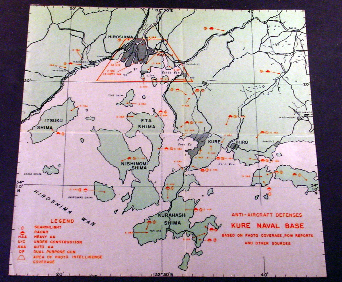 Original US Army Airforce Map Defenses Of Hiroshima Naval - Us naval bases in japan map