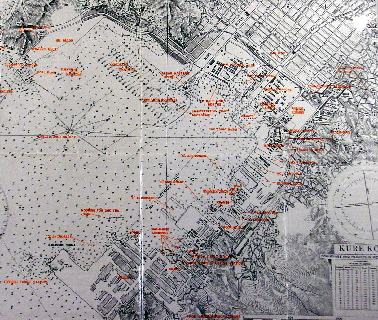 Original US Army Airforce Map Of Hiroshima Japan Kure - Us naval bases in japan map