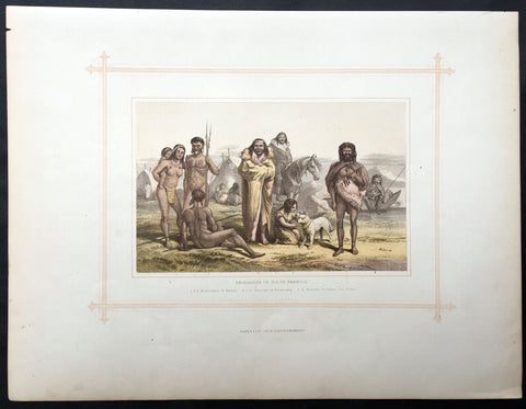 1880 Blackie & Son Antique Print South American Indians