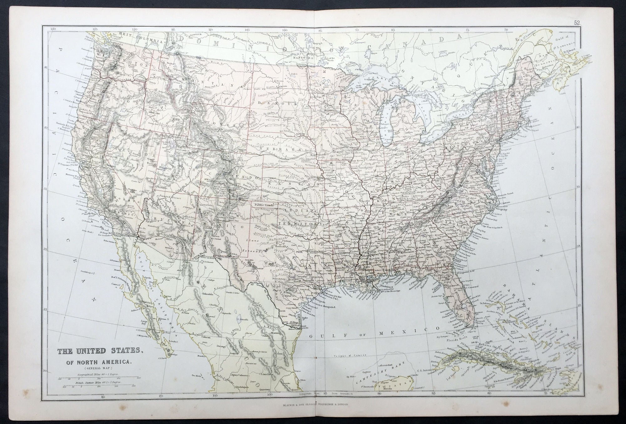 1870 Blackie Son Large Antique Map Of The United States Of America