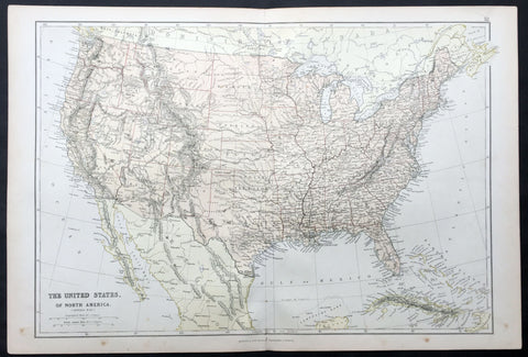 1870 Blackie & Son Large Antique Map of The United States of America