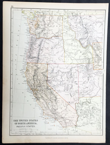 1870 Blackie & Son Antique Map The Western United States of America