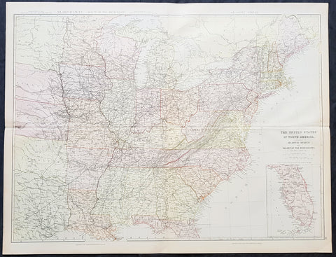 1860 Blackie & Son Large Antique Map of The Eastern United States, inset Florida