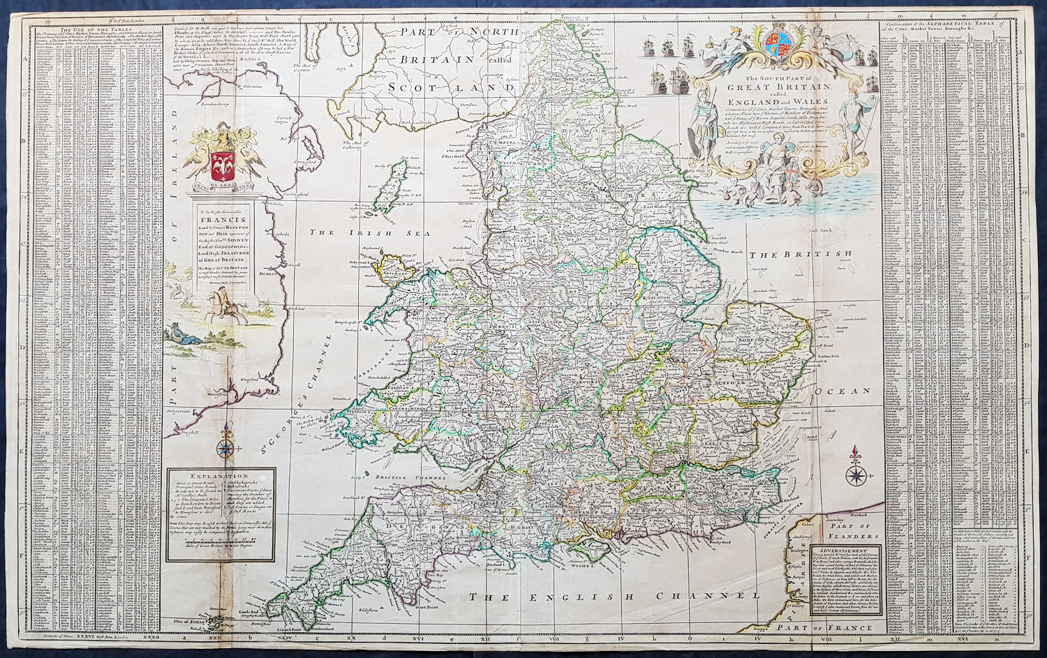 1710 Herman Moll Large Antique Map Of England Wales Extensive