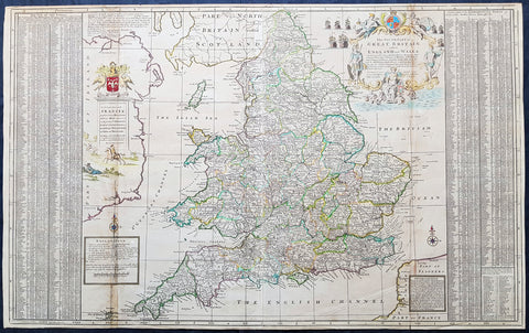 1710 Herman Moll Large Antique Map of England & Wales - extensive Details