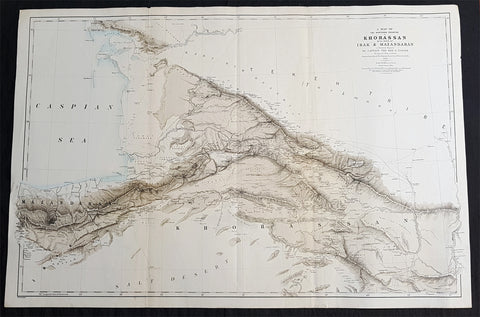1876 Napier & Saunders Large Antique Map of Khorasan - Caspian Iran Afghanistan