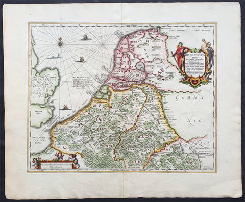 1652 Jansson Large Old, Antique Map of The Netherlands