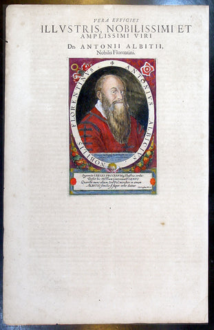 1612 Antique Frontispiece Portrait of Antonio Albizzi - Principum Christianoru