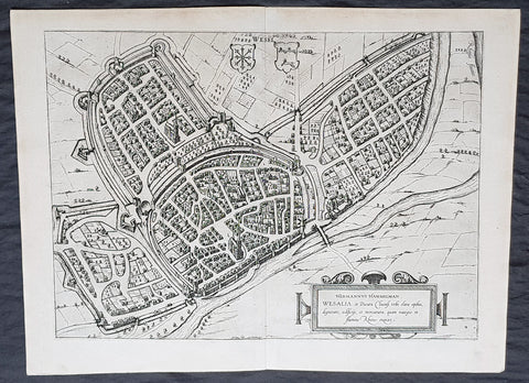 1574 Braun & Hogenberg Antique Map View of Wesel North Rhine-Westphalia, Germany