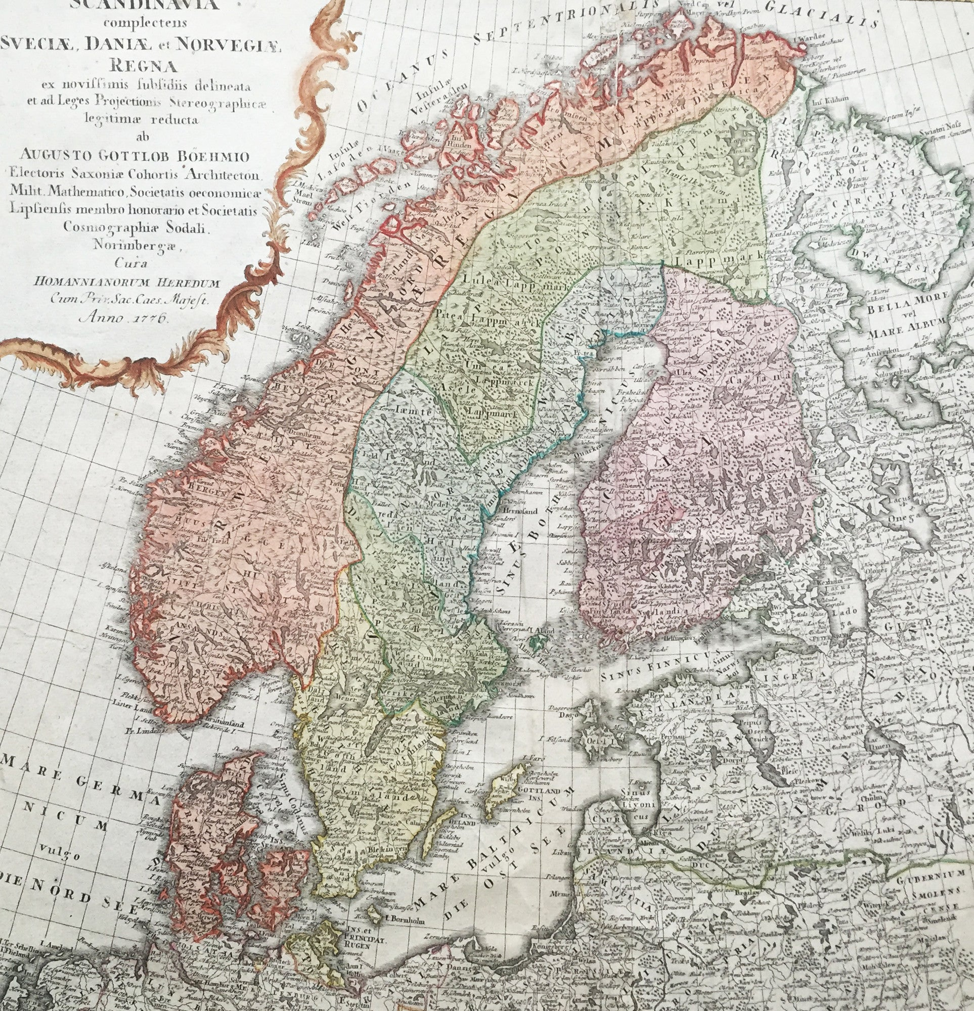 Homann Old Antique Map Of Scandinavia Norway Sweden - Map sweden 1650