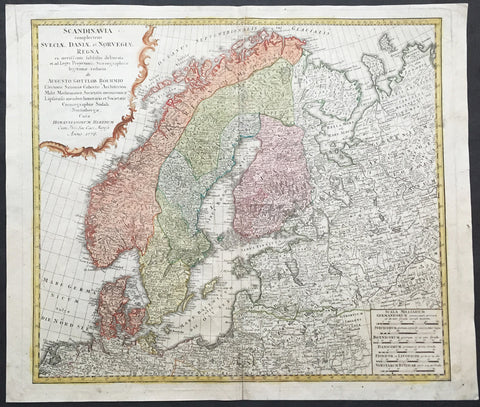 1776 Homann Old, Antique Map of Scandinavia, Norway, Sweden, Finland, Estonia, Latvia