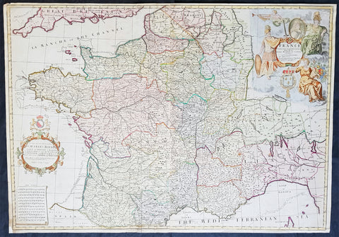 1720 Senex Very Large Antique Map of France in Provinces