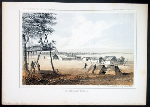 1855 USPRR Large Antique Print Tshimakain Indian Mission, Ford, Washington State