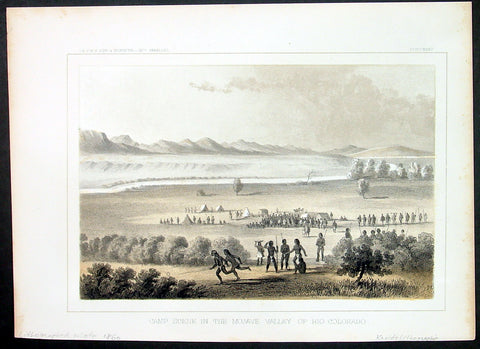 1855 USPRR Antique Print of the Mohave Indians, Mojave Desert, Colorado River