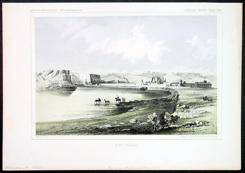 1855 USPRR Antique Print Fort Benton, Missouri River, Chouteau County, Montana