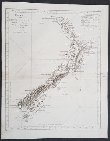 1774 Captain James Cook Antique Map, 1st Printed Chart of New Zealand. Dutch Ed. - Scarce