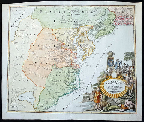 1715 J B Homann Large Antique Map of North America Virginia Chesapeake Bay NJ, NY