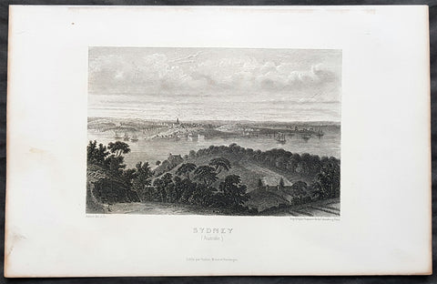 1859 Aubert Antique Print View of Sydney, Australia from the North to The Rocks