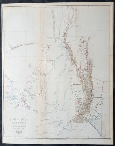 1843 John Arrowsmith Antique Map of South Australia, Kangaroo Is to Lake Torrens
