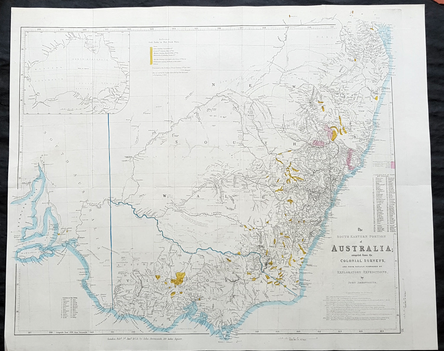 Map Of Nsw Australia.1853 John Arrowsmith Large Antique Goldfields Map Of New South Wales Victoria