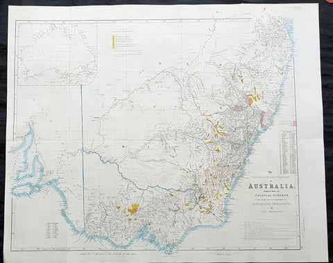 1853 John Arrowsmith Large Antique Goldfields Map of New South Wales & Victoria