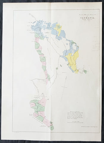 1855 Arrowsmith Rare Antique Map Land Parcels in Van Diemens Land, TAS Australia