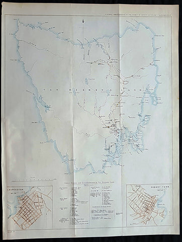 1849 Arrowsmith Rare Antique Convict Map of Van Diemens Land, Tasmania Australia