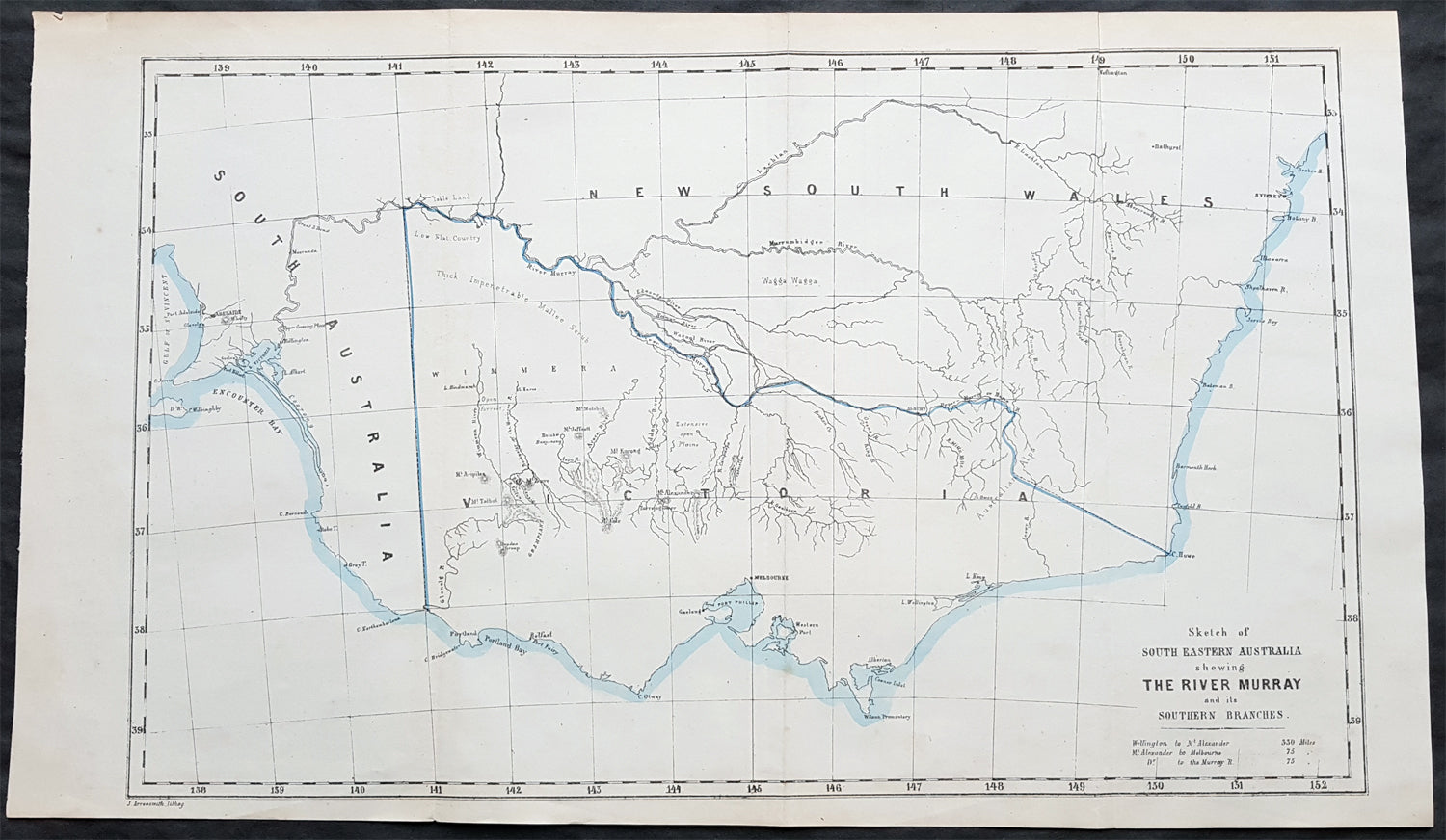 Map Eastern Australia.1853 John Arrowsmith Rare Antique Map Of The River Murray Victoria Australia