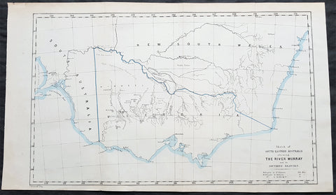 1853 John Arrowsmith Rare Antique Map of The River Murray & Victoria, Australia