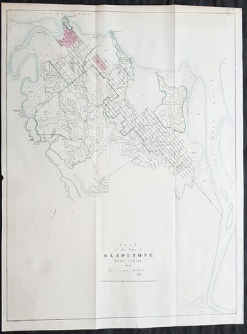1854 John Arrowsmith Rare Antique Map, Early Town Plan of Gladstone, Queensland