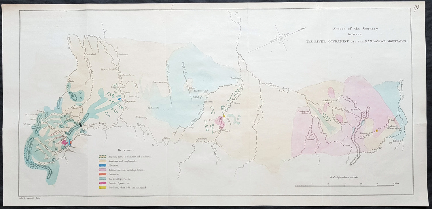 Nsw Map Australia.1854 Arrowsmith Rare Antique Geological Map From Queensland To Nsw Australia