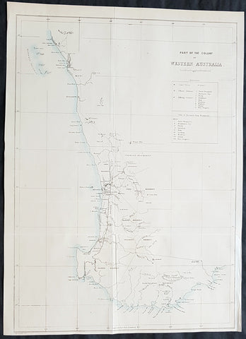 1859 John Arrowsmith Rare Antique Map of The Colony of Western Australia