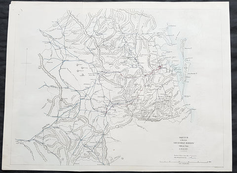 1861 Arrowsmith Rare Antique Map of Queensland, Brisbane to Toowoomba & Warwick - Bowen