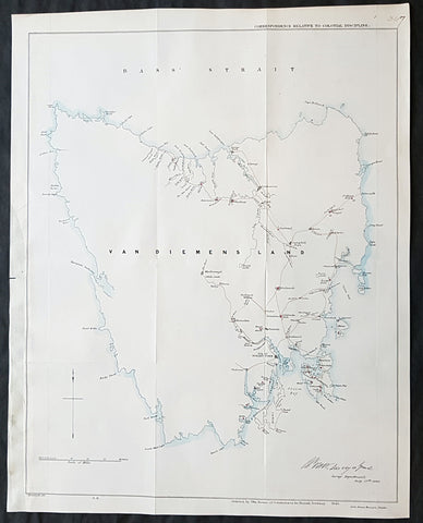 1846 Arrowsmith Rare Antique Convict Map of Van Diemens Land, Tasmania Australia