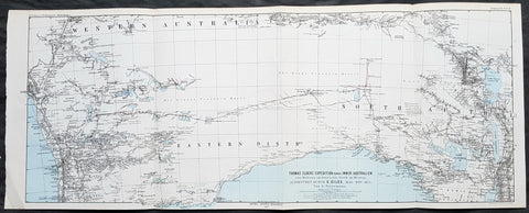 1876 Petermann Antique Map Expedition Ernest Giles Western & South Australia, 1875