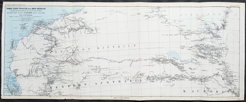 1877 Petermann Antique Map Expedition of Ernest Giles Western & South Australia in 1876
