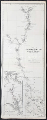 1861 Petermann Antique Map of 4th John McDouall Stuart Expedition in Australia