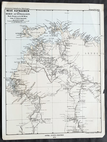 1878 Petermann Antique Map of Northern Territory Australia - William McMinn 1876