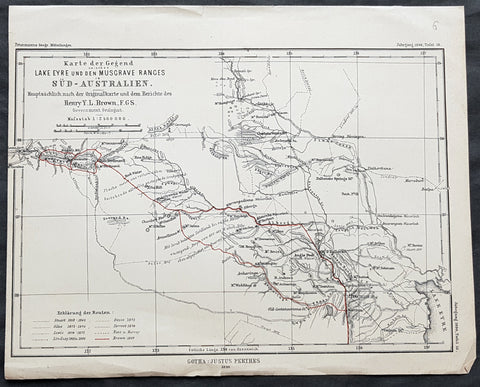 1890 Petermann Antique Map Lake Eyre to The Musgrave Ranges South Australia