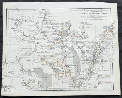 1860 Petermann Antique Map - Tracks of 14 Explorers 1840-59 in South Australia
