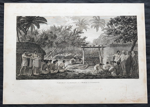 1784 Cook & Webber Large 1st Edition Antique Print of Human Sacrifice on Tahiti